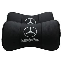 NOVO Para Mercedes Benz 1 PCS Couro PU Carro Pescoço Travesseiro Apoio Encosto de Cabeça Assento Capas de Almofada Styling de Carro de