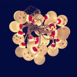 navidad lámpara batería cálido blanco Rebajas Batería LED Muñecos de nieve Bombillas Decoración de la fiesta de Navidad Blanco cálido Coloreado Lámpara de plástico Cadena Festival Artículos para el hogar 9tl hh