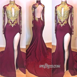 3b3443c9e maroon silver lace prom dresses Coupons - Maroon High Neck Prom Evening  Dresses Gold Appliqued Long