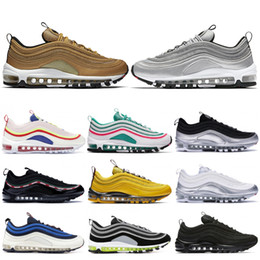 Argentina 2019 Triple Negro niek air max 97 OG Zapatos para correr Hombres Mujeres Metallic Gold Silver Bullet Designer Sneakers South Beach Corduroy White Sport Shoes 36-45 supplier real yellow gold Suministro