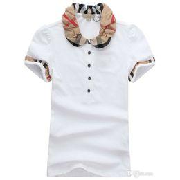 Modelos de polo on-line-Designer de Mulheres T Camisas de Impressão de Alta Qualidade Rodada Designer de T-shirt Modelos de Curto-mulheres Camisas Polo Atacado