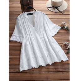 4fa78bed9f9 2019 Women Summer V Neck Short Sleeve Plain Loose Cotton Linen Top Casual  Hollow Out Ruffles Blouse Shirt on sale