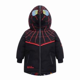 spider man invierno abrigo niños Rebajas Spiderman niños muchachas de los muchachos por la chaqueta 2019 nueva capa del hombre araña de los niños que usan largas chaquetas de invierno de doble cara de la capa de los niños
