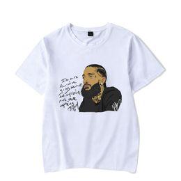 2019 nipsey hussle Rap Camisetas Mens Verão Branco Impresso Casual Rua Básica T de Mangas Curtas Hombres de