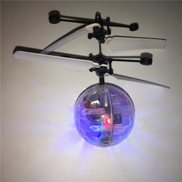 rc fly ball Promo Codes - RC Toys Flying Ball Helicopter LED Lights Sensor Suspension Remote Control Aircraft flashing whirly Ball Built-in Shinning Easter Gifts 2020