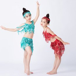 belly dancing decorations Coupons - 2019 New Kids Belly Dance Sequin Wear Professional Girl Oriental Dance Show Outfit 3 Piece Hair Decoration Blouse Tassel Skirt