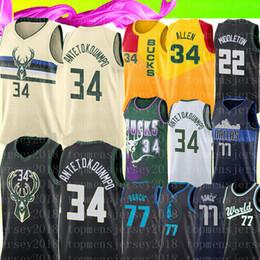 logos basquete Desconto NCAA Giannis # Antetokounmpo Raio Retro Allen Jersey Colégio Luka Mens Doncic Basquete Camisas # 34 # 77 mbroidery Logos Bordados Logos