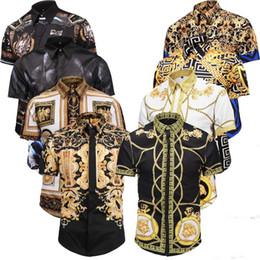 2019 francês roupas homens BIB A última moda tendência Magro dos homens camisa dos homens de mangas compridas cor retro impressão camisa de vestido dos homens camisa de algodão casual Medusa M-2XL
