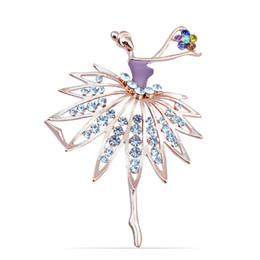 Spille di balletto di cristallo online-Donne Ragazze Crystal Ballet Dance Girl Spilla Pin Accessori Spille Regalo / Crystal Dancing Balletto Girl Art Déco Accessorio Spilla Pin