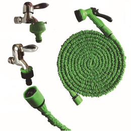 hose 75ft Coupons - 75FT Plastic Green Blue Water Spray Retractable Water Hose Set House Car Washing Expandable Hose With Multi-function Water Gun DH0755-2 T03