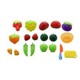 Couper des jouets semblant en Ligne-Couper Jouets Prétendre Nourriture Fruits Légumes Playset Apprentissage Éducatif Jouet Cuisine Jouer Pour Enfants Assortiment De Nourriture 1 Set (18Pcs)