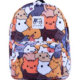 Meninas gato japonês on-line-Gato Padrão de Impressão Mochila Menina Menino de Nylon Luz Escola Packsack Adolescente Japonês Kawaii Dos Desenhos Animados Livro Backbag Mochila