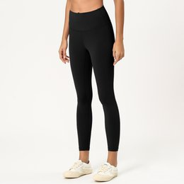 2019 alfândega india LU-10 Cores sólidas Mulheres Yoga Calças de cintura alta Gym Leggings Sports Workout Wear Elastic fitness Yoga Outfits Lady geral calças apertadas Nona