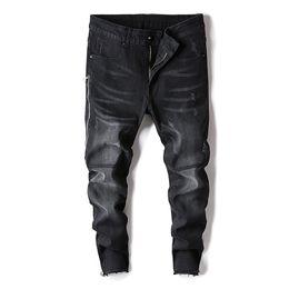 cerniera jeans leg Sconti 2019 New Explosive Street Fashion Uomo Skinny Jeans Pantaloni neri Fit Zipper Slim freddo elastico Biker Biker Hip Hop Jeans a figura intera