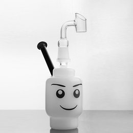 smiling faces cartoons Promo Codes - Smiling face glass bong pipe white small Cartoon bongs percolator water dab rig 14 mm joint free shipping