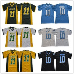 North Dakota State Bison College 11 Carson Wentz Jersey North Carolina  Green Yellow White Football 10 Mitchell Trubisky Jerseys Black Blue 4c364eba5