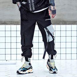 Hombres Hip Hop Joggers Tobillo Longitud Bolsillos Pantalones Harem  Harajuku Streetwear Pantalones Tácticos Baggy Moda Swag Ribbon 6c87df2aa77