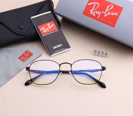 Ornamentali blu online-Designer Occhiali da vista Occhiali da sole Uomo Occhiali da sole da donna Brand R0234 Occhiali miopi Bicchiere anti-blu 6 colori Alta qualità con scatola