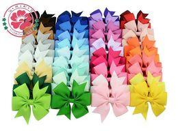 Kinder haarclip blume online-40 Farben Kinder Hair Bows Bloom Pin für Kinder Mädchen Kinder Haarschmuck Baby Hairbows mit Clips Blume Haarspange