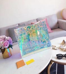 A geléia totes a bolsa das mulheres on-line-Moda Hot Design Jelly Bolsa de Ombro Limpar Transparente Balde PVC Tote Bolsa para Mulheres Moda Sacos