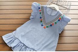 2019 Nuevo artículo de verano de la raya de la borla del vestido de encaje de Cenicienta terciopelo acción de gracias de los niños de la boda de la boda del bebé mameluco vestidos tutu congelados desde fabricantes