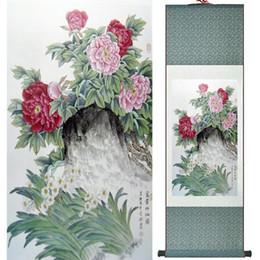 peonías pinturas china Rebajas Pintura de la peonía decoración de la oficina en casa pintura de desplazamiento chino pájaros pintura peonía y aves pinturas Ltw112319
