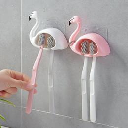 Фламинго присоски 2 позиции держатели зубных щеток всасывающие крючки для дома аксессуары для ванной комнаты набор стены ванной от