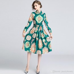 2f60ebc42918 Knee Length Maxi Dress for Woman Floral Dress Formal Party Shirt Dresses  Women Lapel Neck Long Sleeve Elegant Print Tunic Pleated Dress