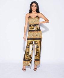 impresión de miami Rebajas Monos con estampado de leopardo sexy para mujer Cinturón de condole fino dividido con cremallera estilo Miami 7 minutos de pantalones