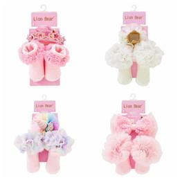 Calzini neonati calzini online-Fasce per neonato unicorno + pizzo Flower Baby Socks cotone Fascia neonato design + Calzini appena nati 2 pz Scarpette neonato Accessori neonati A5496