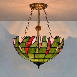 Argentina 16 Pulgadas Verde Vintage Lámpara Colgante Arte Vidrieras Luces de Sombra Restaurante Sala de Estar Proyecto de Suspensión Luminaria cheap green pendant light shade Suministro