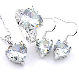 Canada Luckyshine 3Pcs / Set de bijoux de fiançailles ensemble en forme de coeur blanc topaze cristal cubique zircone gemmes pendentif anneau boucle d'oreille pour les femmes ensemble le navire libre Offre