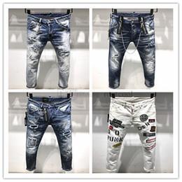 hip hop meio lavagem jeans Desconto DSQUARED2 DSQ2 2019 Nova Chegada de Alta Qualidade Da Marca Designer Homens Denim Jeans Bordados Calças Moda Buracos Calças Itália tamanho 44-54