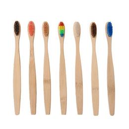 Wholesale 7 colores cabeza cepillo de dientes de bambú al por mayor medio ambiente madera arco iris cepillo de dientes de bambú cuidado oral cerdas suaves DHL gratis