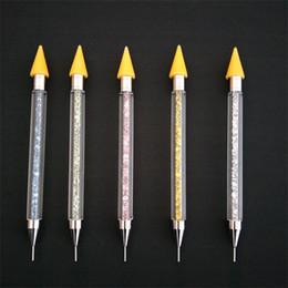 crayones de pluma Rebajas Doble cabeza del clavo que puntea la pluma multifunción Rhinestone crayones Diy lápiz de cera con caja de almacenamiento Mulit Color 5 3hp E1
