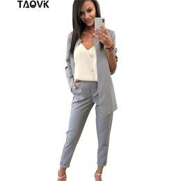2019 frauen hose arbeit anzug TAOVK Work Pant Suits 2 Piece Set für Frauen Buttonless Blazer Jacke Hose Büro Lady Suit Feminino günstig frauen hose arbeit anzug