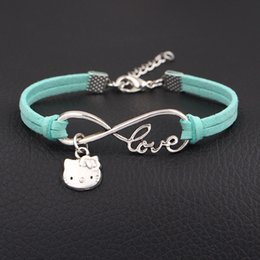 b1a6d8d58 hello kitty charm bracelet Canada - Vintage Antique Silver Color Infinity  Love Hello Kitty Cat Bohemian