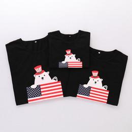 Drapeau enfant usa en Ligne-Parent Child T-shirt à manches courtes Col rond Ours Drapeau américain Indépendance Jour de fête États-Unis d'Amérique 4ème juillet Famille de rayures