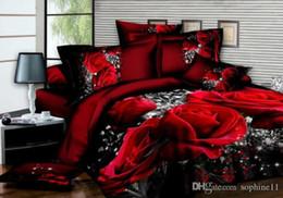 set biancheria da letto in cotone egiziano viola Sconti 3D Rose Bedding Set Copripiumino romantico Copriletto Copriletto Copripiumino 3 pezzi Copripiumino Queen