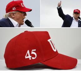 mejores snapbacks al por mayor Rebajas Gratis DHL USA 45th President 45 Gorra de béisbol 5 colores Donald Trump Hat Make America Great Again Sombreros Gorras de bordado Snapback ajustable M202F