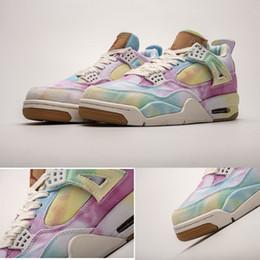 moda calça jeans Desconto 2019 nova moda jeans mens sports designer sapatilhas mens tênis de basquete 4 denim branco azul rainbow jogo red 4s