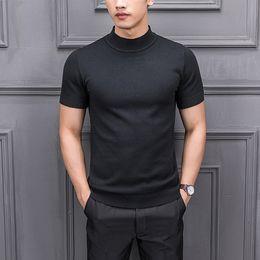 Couleur météo en Ligne-8 couleurs hommes couleur unie demi col roulé à manches courtes pull pull mode masculine occasionnel mince fit tricoté météo t-shirts chemises