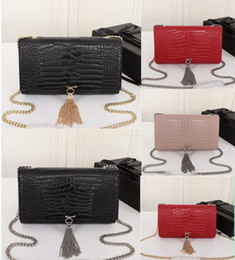 Borsa a tracolla in coccodrillo online-Women purse luxury designer handbag kate bags crocodile pattern real leather chain shoulder bag high quality tassel bag 24cm