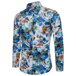 design shirts sell Coupons - Hot sell 2019 New Brand Design Casual Shirt Men Long Sleeve Slim Fit Cotton Dress Shirts Men printing Shirt Plus Size 5XL