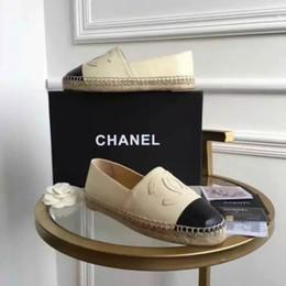 Pattini di tela di canapa più online-Espadrillas di marca di alta qualità in vera pelle Suole spesse scarpe di tela scarpe da donna scarpe di moda appartamenti scarpe Plus Size36-42