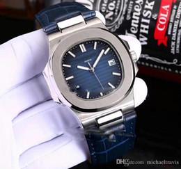 Relojes deportivos de color para hombre online-Venta caliente Nautilus Classic 5711 Caja de Acero Dial Negro 40mm A2813 Automático Reloj para Hombre Calendario de Relojes de Cuero 5 Colores P280b2