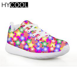 HYCOOL Kids Soccer Shoes Cute Star zapatillas de deporte de impresión para niñas niños zapatos de fútbol deporte corriendo cómodo 2019 desde fabricantes