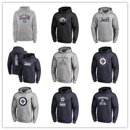 precios de camisetas Rebajas Hombres Winnipeg Jets Fanáticos Camisetas de marca Negro Gris ceniza Sudadera deportiva Manga larga Ropa exterior Nuevas camisetas de hockey Logos de bajo precio
