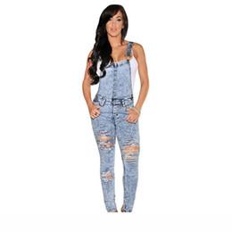 jeans macacao Sconti Body 2016 Macacao Feminino Longo Stone Wash Denim Distrutto Equipaggiata casuale generale Estate Jeans tuta Donne