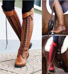 2020 gladiadores de rodilla alta botas altas de las mujeres de la motocicleta de la rodilla de encaje hasta zapatos de mujer Matin damas CHAUSSURE talones gladiador zapatos de mujer Sapato botines TA0080 gladiadores de rodilla alta baratos